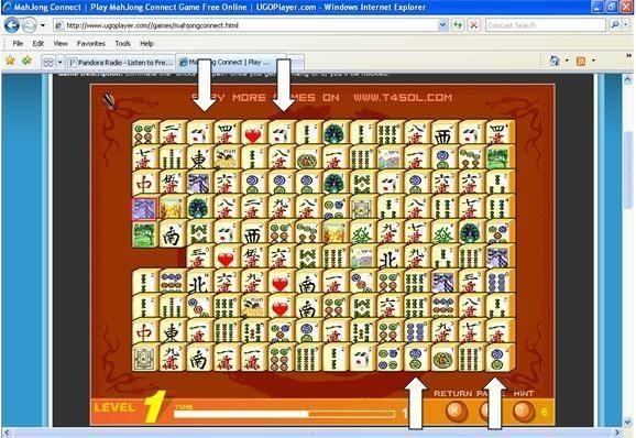 Mahjong Connect - Regra das pedras nas mesmas colunas